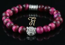 oeil de tigre rose - Argenté Tête - Bracelet perles