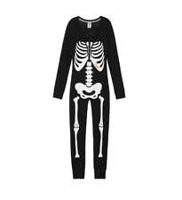 S Victoria's Secret PINK Halloween Skeleton Onesie Long Jane Thermal Pajamas