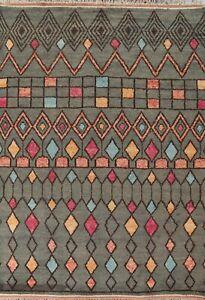 Geometric Moroccan Berber Oriental Area Rug Hand-knotted Plush Wool 8x11 Carpet