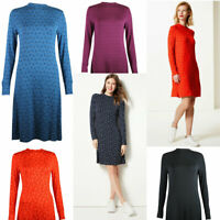M&S Marks and Spencer Womens Jersey Swing Long Sleeve Tunic Dress Blue Red Black