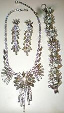 VTG JULIANA CLEAR RHINESTONE BAGUETTE BRACELET EARRINGS & NECKLACE PARURE