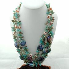 FC031212 25mm Keshi Pearl Agate Crystal Necklace