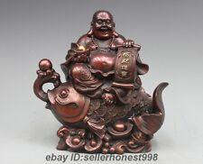 China red Bronze Yuan Bao Maitreya Buddha Ride Fish Attract Wealth Statue