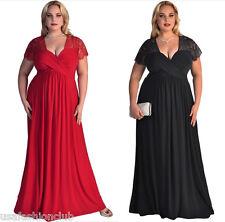 Women Plus Size Short Sleeves High Waist Evening Cocktail Gown Long Lace Dress