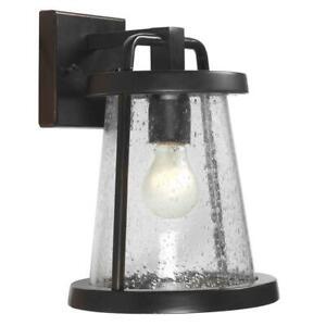 "Hampton Bay Gale 12"" Outdoor Graphite Black Wall Lantern w/ seeded Glass shade"