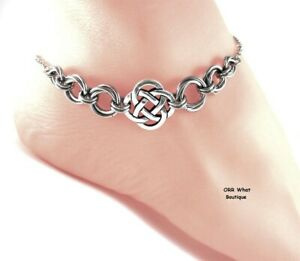 Celtic Endless Knots Silver Charm Anklet or Bracelet Jewelry Chainmail Chains