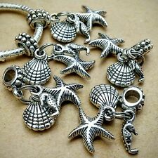 5P Lot Summer Ocean Beach Starfish Seahorse Seashell European Dangle Bead Charms