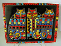 "Wonderful Vintage 1991 Arius Santa Fe Art Tile/Trivet with Cat's~ 6"" X 8"""