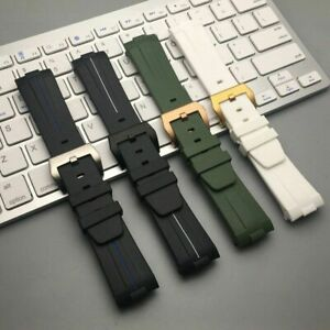 24 Curved End Silicone Rubber Watch Band for Panerai Luminor PAM Strap QUALITY!
