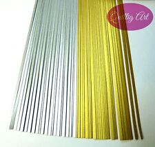 3mm Quilling Papers MIX Metallic Silver-Gold colours 150 Strips 350mm 120gsm