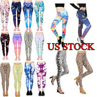 Women Gym Yoga Workout Fitness Active Stretchy Printed Capri Leggings Pants USA