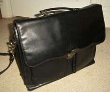 CLASSIC VINTAGE 1970's BLACK LEATHER BRIEFCASE/ATTACHE BAG