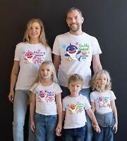 Baby Shark Mommy Daddy Shark Party Family Shark birthday boy/girl White T-Shirts