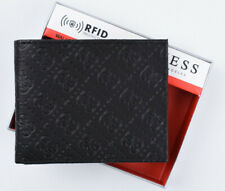 GUESS Men's Black RFID Protection Logo Embossed Bifold Wallet - Boxed