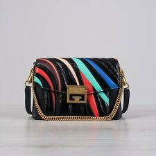 GIVENCHY 3590$ Small GV3 Bag In Crackled Black Leather With Multi Color Stripes