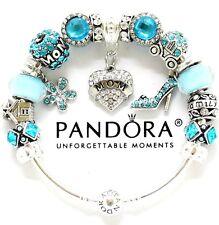 Authentic PANDORA Bracelet Silver MOM Blue European Charms Christmas Gift NIB