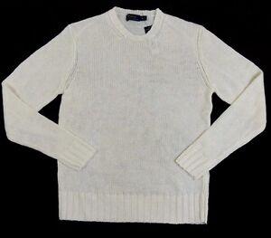 $245 Ralph Lauren Blue Label Long Sleeves 100% Linen Crewneck Cream Sweater  XL