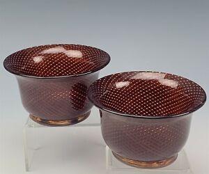 2 Dino Martens Filigrana Doppia Cased Inlay Threaded Glass Gold Dust Bowl #1 TIA