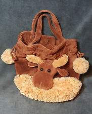 "Moose Stuffed Animal Plush Hand Bag Purse Lipco w/ Draw Strings Soft 10"" Brown"