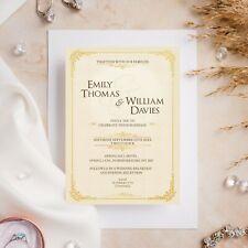 10 Wedding Invitations Day/Evening Gold Cream Traditional Vintage Simple Elegant