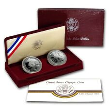 1983 & 1984 S Silver Proof Olympic Los Angeles Comm. Dollar Set ☆☆ Box W/COA
