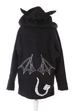 TS-137 DEVIL HORNS BAT WINGS PRINT Black Gothic Hooded Jacket
