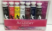 Grumbacher Academy Acrylic Paint 7 Color set 24ml 0.8 oz Metal Tube c0724 NEW