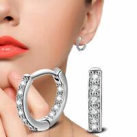 925 Silber Creolen Klappcreolen Kreolen Ohrringe Zirkonia Diamant Clip Damen Neu
