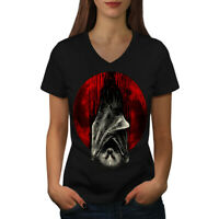 Wellcoda Blood Moon Vampire Womens V-Neck T-shirt, Bat Graphic Design Tee