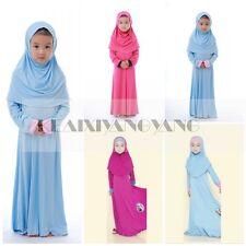 Muslim Kids Girls Long Dress+Hijab Islamic Prayer Kaftan Anna Elsa Maxi Clothes