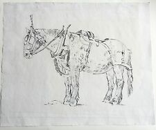 """Thomas hennell (1903-1945) que aparecen """"Vagón Caballo Con Arnés"""" Pluma y Tinta c1939"""