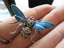 COLORFUL STERLING SILVER BUG BROOCH