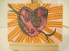 ACEO serpentine heart Art Drawing OOAK - K. Wagner - outsider low brow surreal