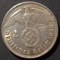 Nazi Germany Third Reich, 2 Mark Silver Coin, 1938 B, Vienna Mint