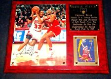SCOTTIE PIPPIN SIGNED AUTOGRAPHED 8x10 PHOTO on a CUSTOM WOOD 15x12 PLAQUE + COA