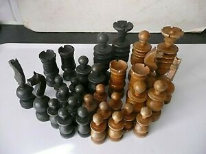 ANTIQUE CHESS SET (ENGLISH PATTERN) ALL COMPLETE, 80 MM QUEEN (TALLEST PIECE)