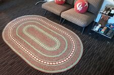 VINTAGE BRAIDED RUG LARGE OVAL 7ft LIGHT BLUE MINT GREEN RED & WHITE
