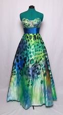 NIGHT MOVES GREEN BLUE PRINT SATIN SEQUIN GEM STRAPLESS PROM FORMAL GOWN DRESS 6
