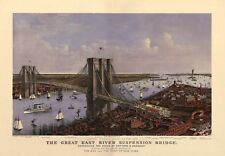 PITTURA AEREA Birds Eye View Bridge New York Brooklyn 1885 Stampa Artistica LF2635