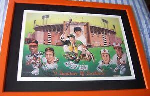 Jim Palmer Cal Ripken Brooks Frank Robinson signed Orioles lithograph framed MLB