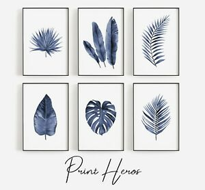Blue Leaves Bio Print Home Art Pictures Poster Living Room Premium Quality