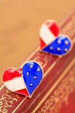 Vintage American Flag Heart Stud Earrings Love USA America US Ear Rings ER02