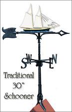 "Whitehall Schooner 30"" Full-Color Weathervane - Rooftop with Roof Mount"