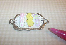 Miniature McVicker Frosted Easter Cookies, Silver Tray #2: DOLLHOUSE IGMA