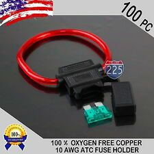 100 Pack 10 Gauge ATC In-Line Blade Fuse Holder 100% OFC Copper Wire + 1A - 40A