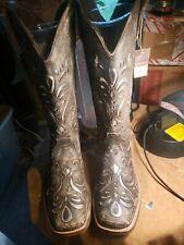 #0671 Roper Ladies Belle Square Toe Brown Sanded/Silver Western Boot..sz11 NWOB