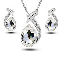 Schmuckset Kette Anhänger Ohrringe Tropfen mit Swarovski® Kristall Silber / Klar