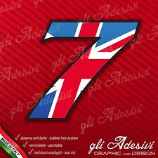 Adesivo Stickers NUMERO 7 moto auto cross gara UK United Kingdom Union Jack 5 cm
