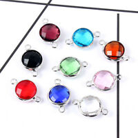 10Pcs Blue/Red/Green Round Crystal Connector Charm Pendant DIY Jewelry Making