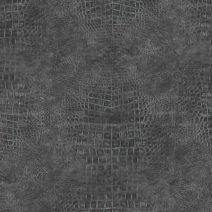Croc Skin Wallpaper G67510 reptile crocodile skin black solid vinyl unpasted